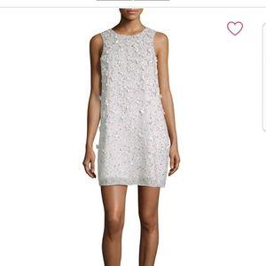 New !Parker Black beaded white cocktail dress